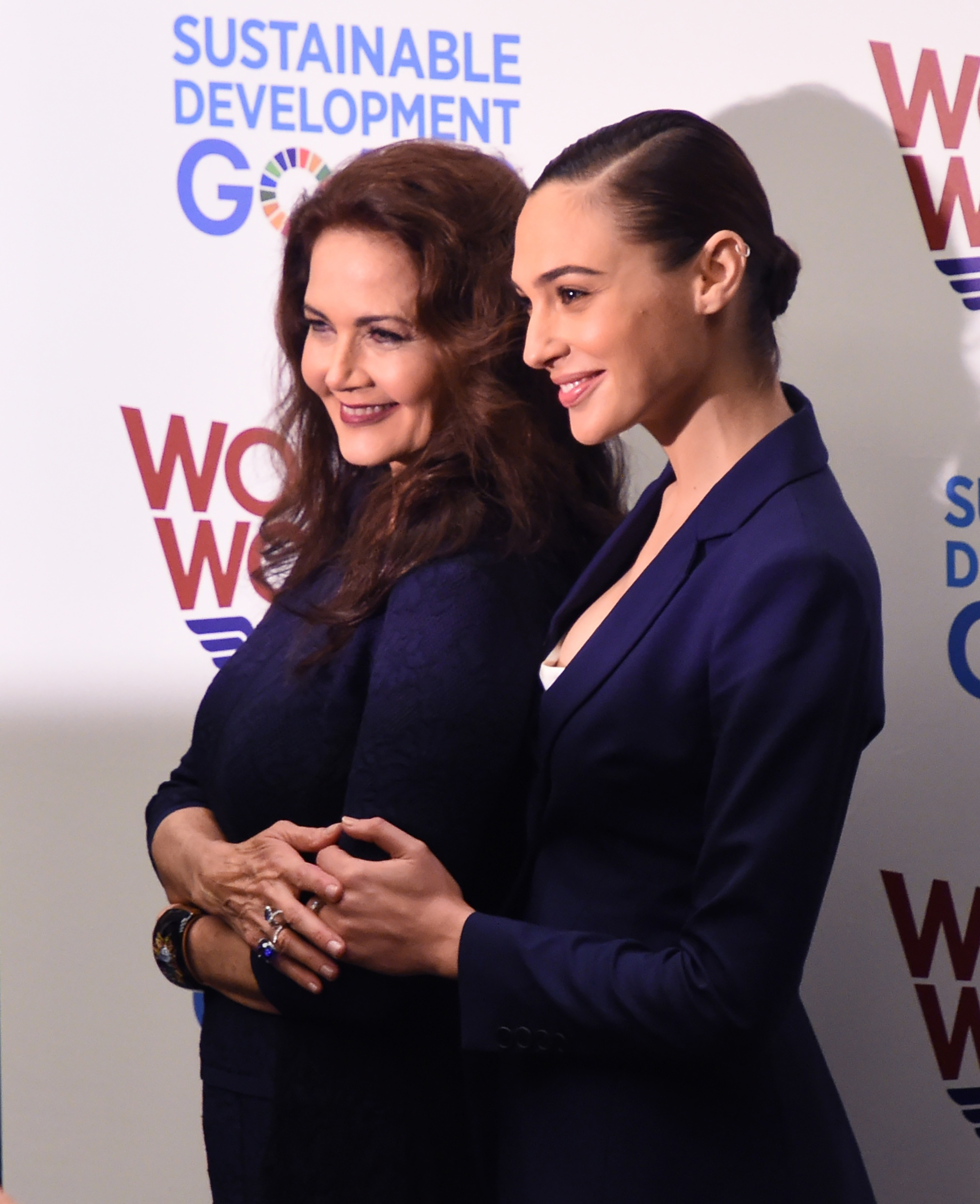 Lynda Carter with Gal Gadot at the UN
